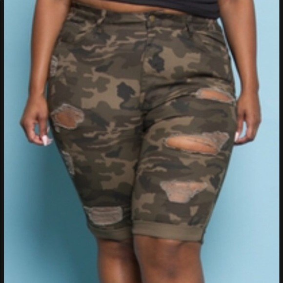 6ccbf0a8a94 Plus size distressed Camo shorts